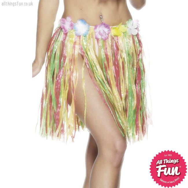 Smiffys Hawaiian Multi Coloured Short Hula Skirt
