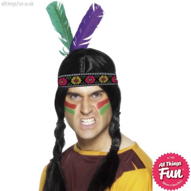 Smiffys Multi Coloured Indian Feathered Headband