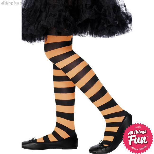 Smiffys Orange & Black Stripped Childrens Tights Age 6-12