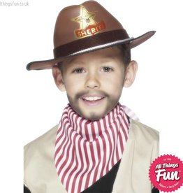Smiffys Childs Brown Cowboy Hat with Sheriff Badge