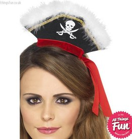 Smiffys *DISC* Black Mock Pirate Hat on Headband