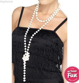 Smiffys White Pearl Necklace