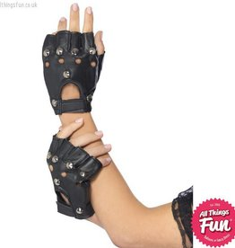Smiffys Black Punk Gloves with Studs