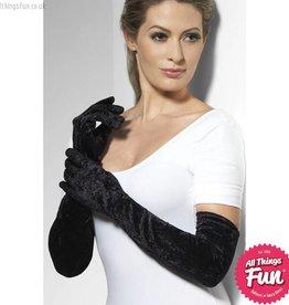 Smiffys Long Black Velveteen Gloves
