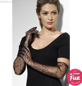 Smiffys *SP* Black Spiderweb Lace Gloves