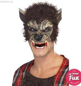 Smiffys Brown Werewolf Half Face Mask with Fur & Teeth