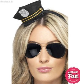 Smiffys Mini Black Cop Hat with Badge