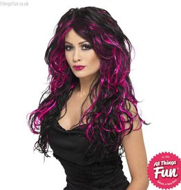 Smiffys *SP* Black & Pink Gothic Bride Wig