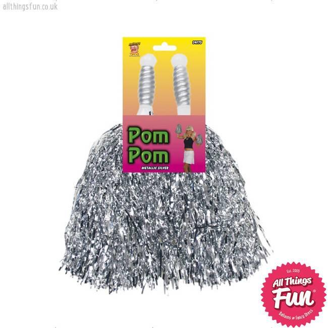 Smiffys Metallic Silver Pom Poms