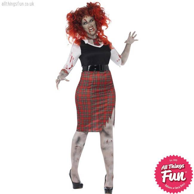 Smiffys Curves Zombie School Girl Costume