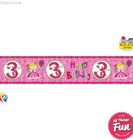 Pioneer Balloon Company Foil Banner - Age 3 Princess