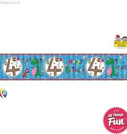 Pioneer Balloon Company Foil Banner - Age 4 Dinosaur
