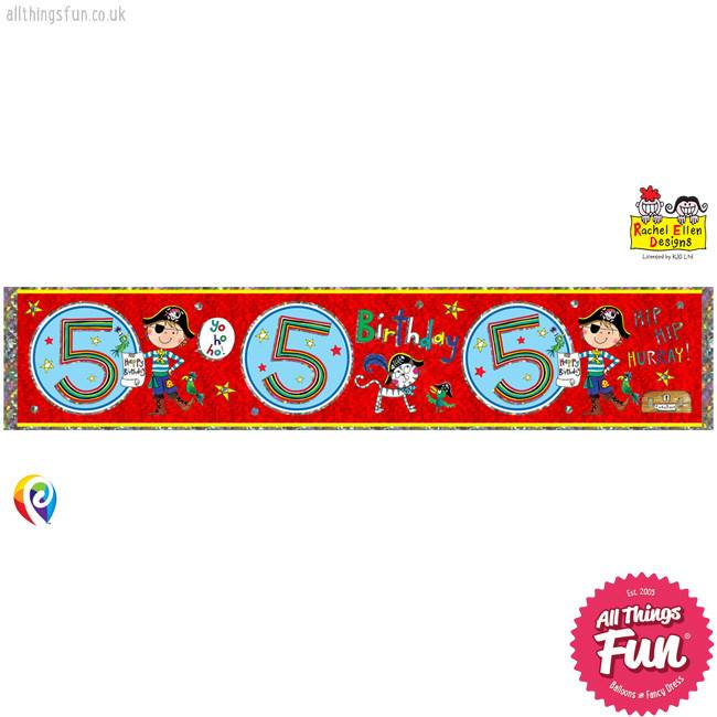 Pioneer Balloon Company Foil Banner - Age 5 Pirate
