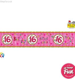 Pioneer Balloon Company Foil Banner - Age 16 Perfect Pink
