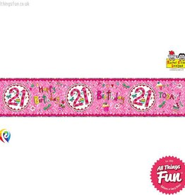 Pioneer Balloon Company Foil Banner - Age 21 Perfect Pink
