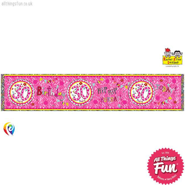 Pioneer Balloon Company Foil Banner - Age 30 Perfect Pink