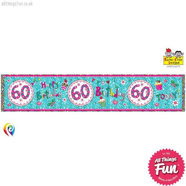 Pioneer Balloon Company Foil Banner - Age 60 Perfect Pink