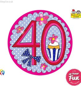 Pioneer Balloon Company Fliter Badge - Age 40 Perfect Pink