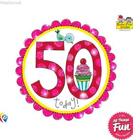 Pioneer Balloon Company Fliter Badge - Age 50 Perfect Pink