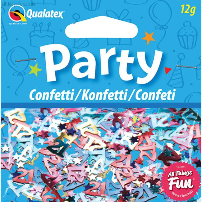 Pioneer Balloon Company Confetti - Age 21 Multi-Coloured Birthday