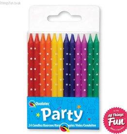 Pioneer Balloon Company Candles - Set Of 24 Multi-Coloured Polka Dot
