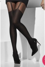 Smiffys Black Sheer Tights with Suspender Print