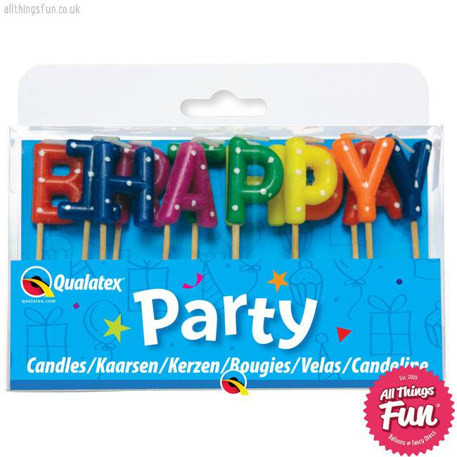 Pioneer Balloon Company Candles -Happy Birthday Multi-Coloured