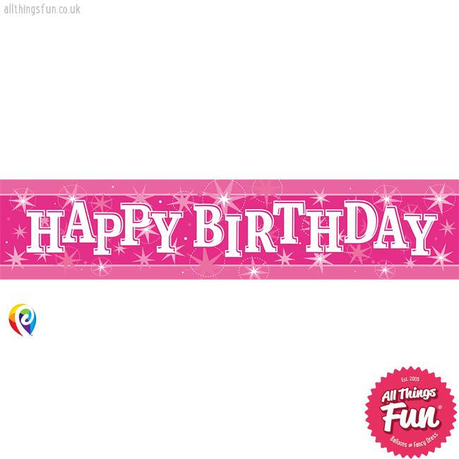 Pioneer Balloon Company Foil Banner - Happy Birthday Pink Sparkle