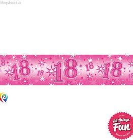 Pioneer Balloon Company Foil Banner - Age 18 Pink Sparkle
