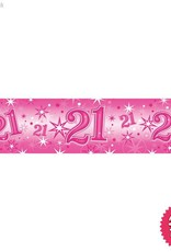 Pioneer Balloon Company Foil Banner - Age 21 Pink Sparkle