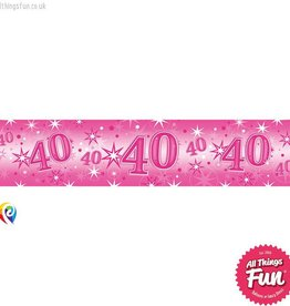 Pioneer Balloon Company Foil Banner - Age 40 Pink Sparkle