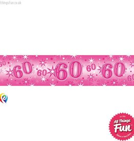 Pioneer Balloon Company Foil Banner - Age 60 Pink Sparkle
