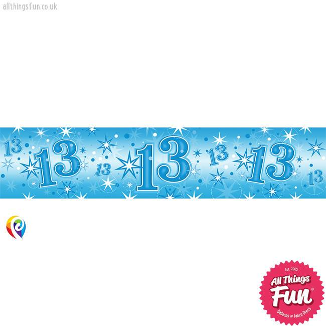 Pioneer Balloon Company Foil Banner - Age 13 Blue Sparkle