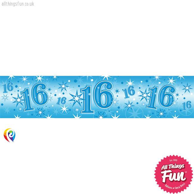 Pioneer Balloon Company Foil Banner - Age 16 Blue Sparkle