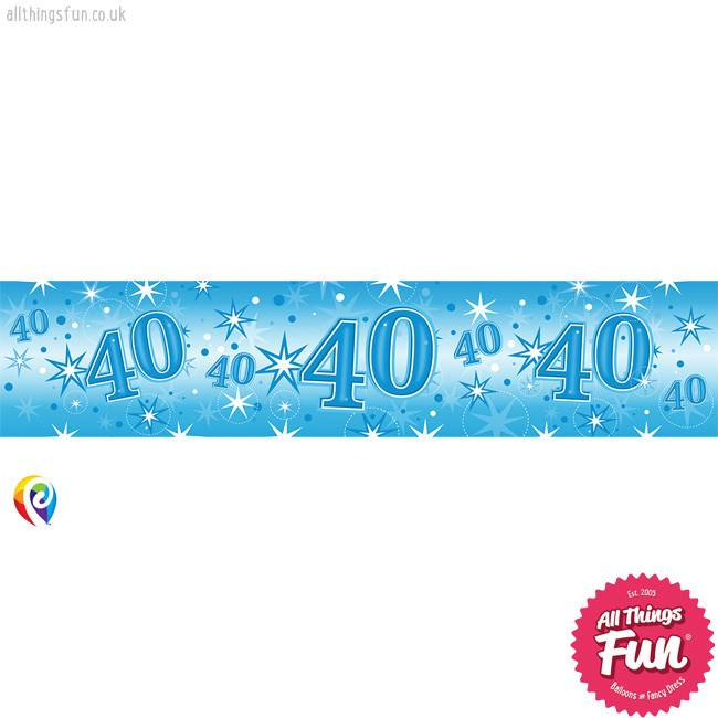 Pioneer Balloon Company Foil Banner - Age 40 Blue Sparkle