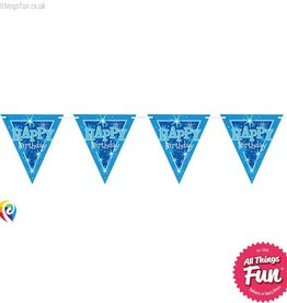 Pioneer Balloon Company Flag Banner - Happy Birthday Blue Sparkle