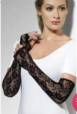 Smiffys *SP* Black Gothic Lace Long Fingerless Gloves