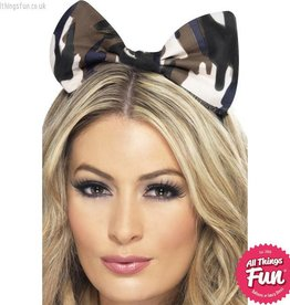 Smiffys *DISC* Camouflage Army Bow on Headband