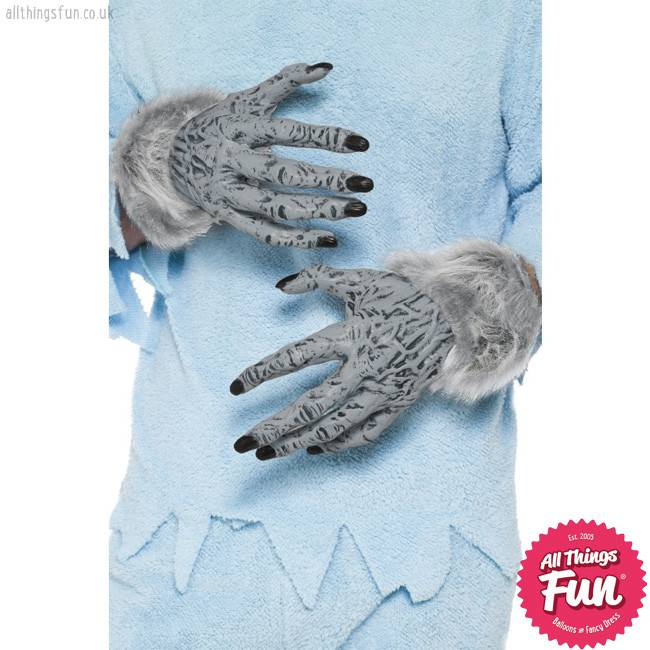 Smiffys Grey Werewolf Furry Hands