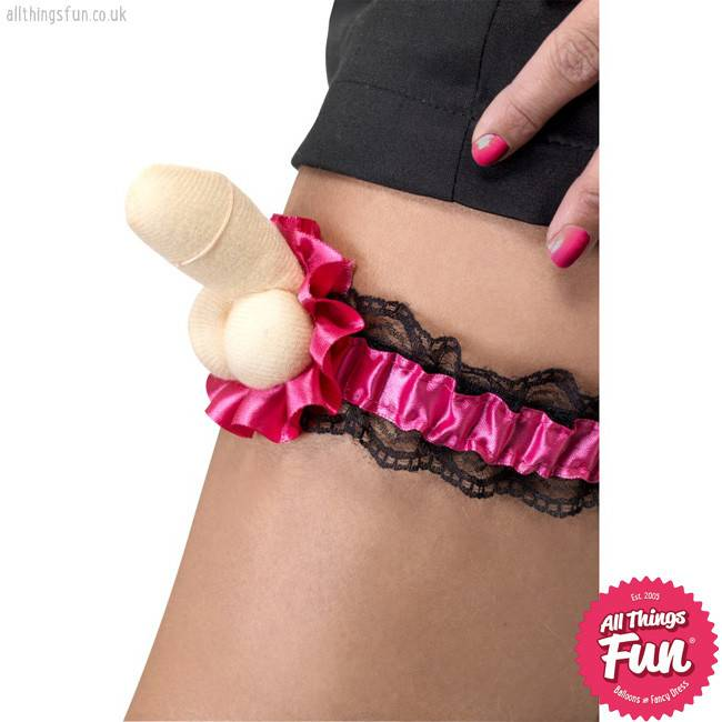Smiffys Hen Night Plush Pink Willy Garter with Black Lace