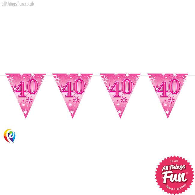 Pioneer Balloon Company Flag Banner - Age 40 Pink Sparkle