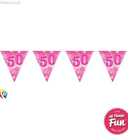 Pioneer Balloon Company Flag Banner - Age 50 Pink Sparkle