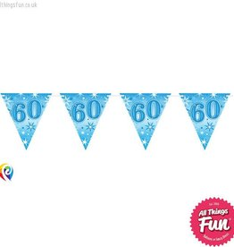Pioneer Balloon Company Flag Banner - Age 60 Blue Sparkle