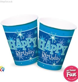 Pioneer Balloon Company Cups - Happy Birthday Blue Sparkle
