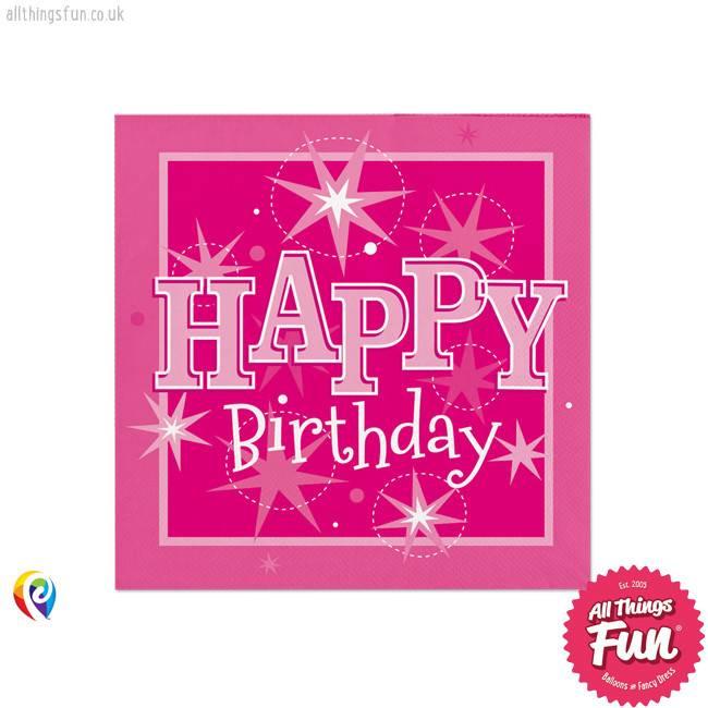 Pioneer Balloon Company Napkins - Happy Birthday Pink Sparkle