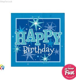 Pioneer Balloon Company Napkins - Happy Birthday Blue Sparkle