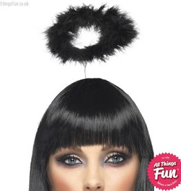 Smiffys Black Angels Halo with Marabou on a Headband