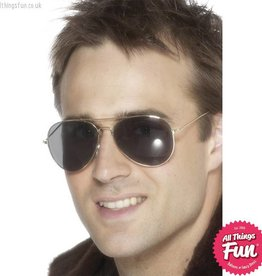 Smiffys Aviator Silver Framed Glasses