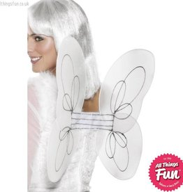 Smiffys White & Silver Glitter Angel Wings