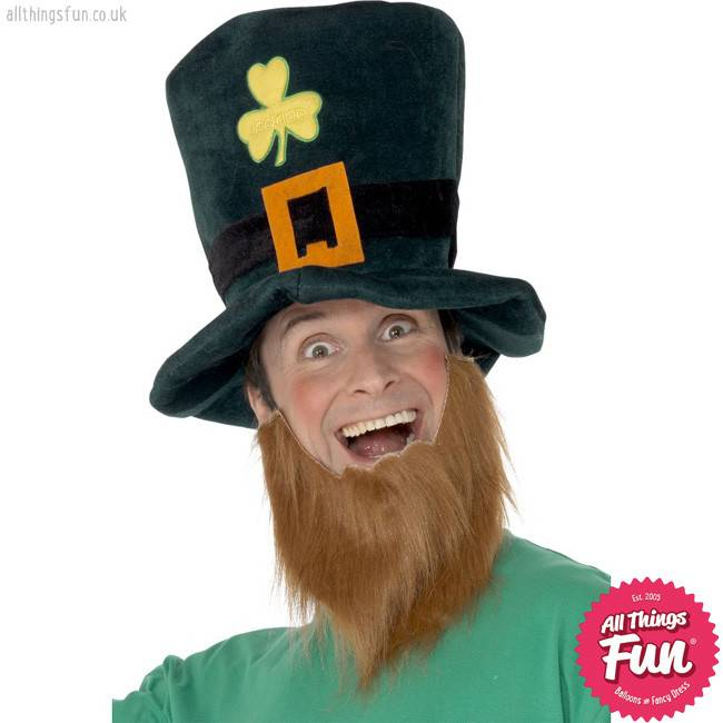 Smiffys Leprechaun Hat with Shamrock and attached Ginger Beard